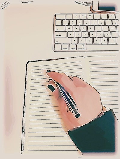 Hand, writing on a blank page